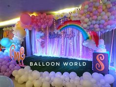 clouds ,Rainbow and Hot air balloon combination stage backdrop Birthday Parties, Birthday Cake, Hot Air Balloon, Party Themes, Backdrops, Balloons, Stage, Pastel, Rainbow