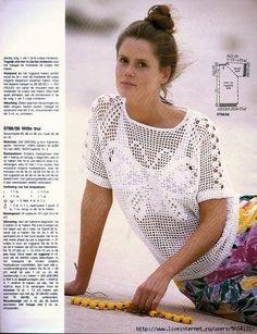 crochelinhasagulhas: Blusa de crochê filé