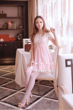 Mango Doll - Sweet Puff Lace Sleeve Dress , $34.00 (http://www.mangodoll.com/all-items/sweet-puff-lace-sleeve-dress/)
