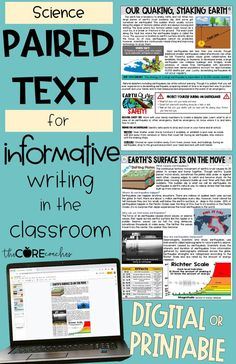 Compatible with Google Slides, these print or digital differentiated paired text passages about earthquakes are perfect to pair science and writing together.