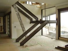 Stair railing ideas - A full directory of interior stair railing ideas, the correct component to utilize according to your stairs Interior Stair Railing, Stair Handrail, Stair Decor, Staircase Railings, Railing Design, Staircase Design, Steel Stairs Design, Staircase Ideas, Diy Stair