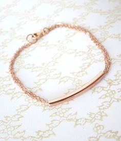 Rose Gold Filled Tube Bracelet Curve bar rose gold