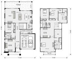 Freshwater 400 - G. Gardner Homes New House Plans, Dream House Plans, House Floor Plans, Double Storey House Plans, Home Design Floor Plans, Double Garage, Display Homes, Open Plan Living, Future House