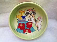 Pet Bowl 6 Dog Bowl for Food or Water Personalized at no Charge Signed by Artist Debby Carman ** Click image to review more details.