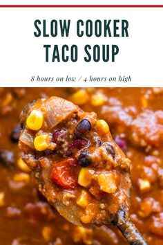 Easy Slow Cooker Taco Soup recipe, made in the crockpot with ground beef and 8 cans. This creamy soup is ready in 4 hours on high or 8 hours on low. Rock Crock Recipes, Easy Meat Recipes, Healthy Soup Recipes, Slow Cooker Recipes, Meal Recipes, Sandwich Recipes, Slow Cooker Ribs, Slow Cooker Tacos, Ground Beef In Crockpot