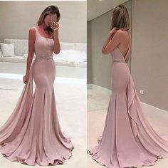 long prom dress,one shoulder prom dress,dusty pink prom dress,mermaid prom dress,2017 new evening dress,BD2624