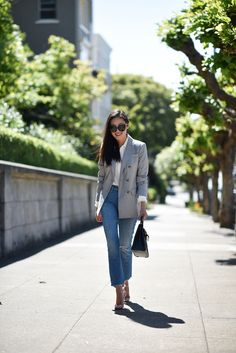 """Blazer – Jones New York Blouse – Club Monaco Jeans – Mother Denim Heels – Christian Louboutin Purse – Hermes Sunglasses – Linda Farrow Lips – Chanel """"Rose Violine"""" Fashion 2017, Fashion Outfits, Mother Denim, Blazer Outfits, Weekend Outfit, Work Casual, Business Fashion, Classy Outfits, Passion For Fashion"""