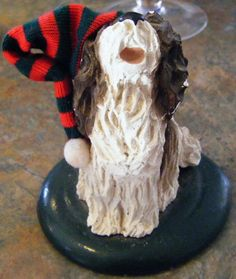 1988 Byers Choice Collectible Dog with Stocking Cap by parkledge, $12.00