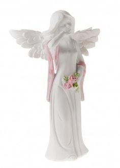 Elfe Janine mit Rose, 18 cm - Diese niedliche Deko-Elfe verschönert Ihr Zuhause.Material: Keramik