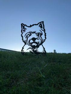 West Highland Terrier Metal Garden Art Baby Puppies, Dogs And Puppies, Maltese Puppies, Baby Animals, Cute Animals, Otters Cute, Metal Garden Art, Metal Birds, Animal Silhouette