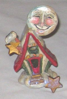 Red-Multicolor-4-034-Whimsical-MOON-House-w-Star-Overhang-Figurine