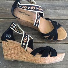 Gorgeous Wedge Sandals These are beautiful and are the perfect addition to your closet! Straps are leather! Retail item from my shop ☺️ Minnetonka Shoes Wedges