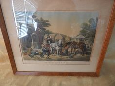 "Vintage Currier and Ives Framed Print ""Preparing for Market"" by AlwaysPlanBVintage on Etsy"