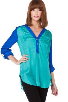 Grenelle Blouse in Ocean / ShopSosie #blouse #tops #shopsosie