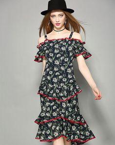 VIPme (VIPSHOP Global) - NEXIIA Royal Blue Cold Shoulder Paneled Printed Midi Dress - AdoreWe.com