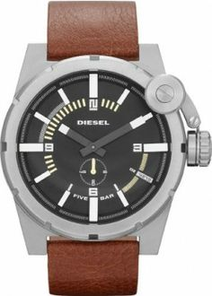 Relógio Diesel Black Dial Stainless Steel Brown Leather Mens Watch DZ4270 #Relogios #Diesel