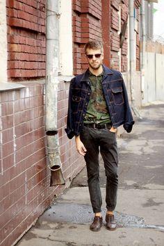denim jacket, camo shirt, dress shoes without socks, shades, yes.