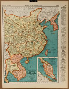 1935 map of Thailand, French Indochina (Vietnam),Taiwan and Malaysia.