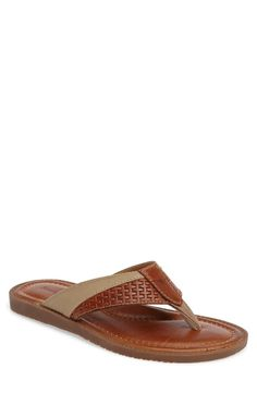 Tommy Bahama Anchors Ashore Flip Flop (Men) Leather Slippers For Men, Mens Slippers, Leather Sandals, Men Sandals, Flip Flop Shoes, Flip Flops, Slipper Sandals, Running Shoes For Men, Men Image