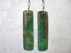 Long, Parrot Wing Chrysocolla Stone Rectangle Slab, Titanium Wire Wrapped Earrings, Hypoallergenic Stainless Steel Leverback Ear Wire by EarthlyTreasures2015 on Etsy