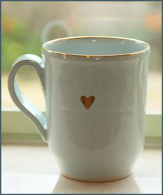 Light Blue and Gold Heart Mug #Mug #Blue #Gold #Heart #Coffee #HotCocoa #UniqueMug #Ad #Love