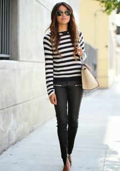 Striped long sleeve tee and leather pants