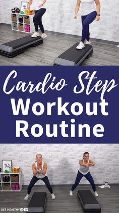 cardio barre Level: All Levels Equipment: Step Instructor: Chris Freytag Step Aerobic Workout, Step Up Workout, Tabata Workouts, Cardio Routine, Aerobics Workout, Cardio Barre, Exercice Step, Step Aerobics, Workout Videos