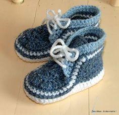 sneakers, baby crochet booties - We publish good gifts idea Booties Crochet, Crochet Baby Booties, Crochet Slippers, Crochet Hat For Women, Crochet For Kids, Baskets Au Crochet, Lidia Crochet Tricot, Gestrickte Booties, Patron Crochet