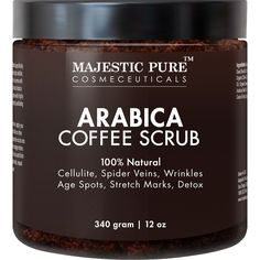 Majestic Pure Arabica Coffee Scrub 12 Oz Natural Body Scrub for Skin Care Stretch Marks Acne Anti Cellulite Treatment Helps Reduce Spider Veins Eczema Age Spots Varicose Veins *** Wow! Check it out now! : All Natural Skin Care Coffee Cellulite Scrub, Coffee Face Scrub, Anti Cellulite, Reduce Cellulite, Cellulite Cream, Cellulite Remedies, Scar Remedies, Varicose Vein Remedy, Varicose Veins
