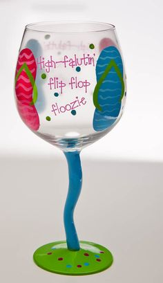 flip flop items for house | Flip Flop Floozie Hand Painted Wine Glass-wine glass, summer, girl ...