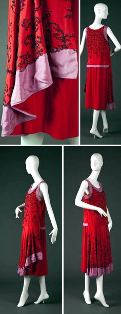 ~Tomato red & lavender silk satin dress, ca. 1925-26. Rounded neck, lavender edged-hem in front and sash in back, round neck and armholes. Purple machine beading in organic motif on front bodice, front skirt panels, and back bodice~   Goldstein Museum of Design, Univ. of Minnesota