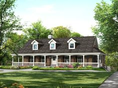 Adding a porch requires changing the roof line. But look at the impact! Great landscaping ideas for a ranch style.