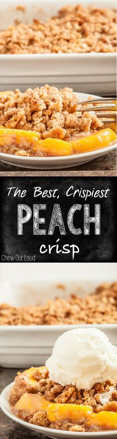 This is the best, most crispy peach crisp with luscious tender peaches! Perfectly balanced sweetness, not watery, not soggy. Just perfect. Finally. #dessert #fruit