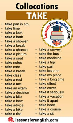 Collocations with TAKE in English - Lessons For English Learn English Grammar, English Writing Skills, Learn English Words, English Idioms, English Phrases, English Study, English Lessons, Essay Writing, English Learning Spoken