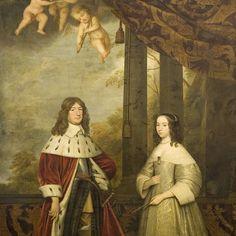Portret van Friedrich Wilhelm (1620-88), keurvorst van Brandenburg, met zijn vrouw Louisa Henriette (1627-67), gravin van Nassau, Gerard van Honthorst, 1647 - Rijksmuseum