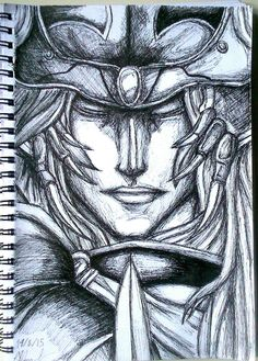 A pen portrait I made of the Warrior of Light from the Final Fantasy series