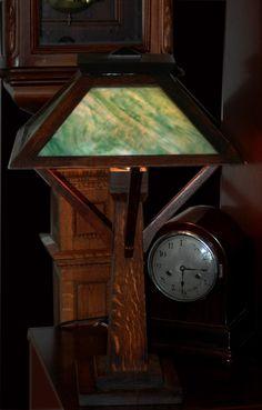 W.B. Brown Antique Slag Glass Arts & Crafts Oak Lamp