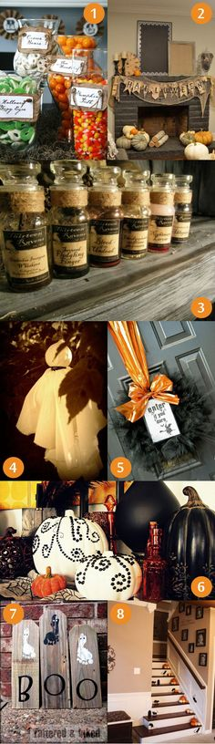 Halloween decorations - love the mantel (too bad we have no fireplace) and the shiny orange ribbon on the black tulle wreath