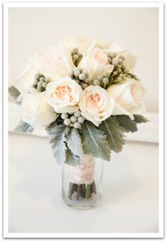 """STYLE & FLOWER TYPE inspiration--this bouquet has the combination of flowers I am interested in having. I think I prefer the more spikey variety of dusty miller, but it's definitely a """"yes"""" to silver brunia and roses."""