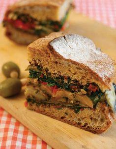 Roasted Eggplant and Spinach Muffuletta Sandwich