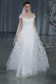 Monique Lhuillier wedding dress from her Fall 2013 bridal collection runway show   via junebugweddings.com