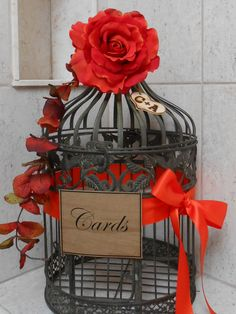 Birdcage Wedding Card Holder / Bright Orange/Red Fall Rustic Decor. $62.00, via Etsy.