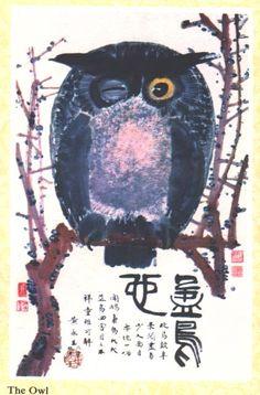 Huang Yongyu's subversive winking owl painting