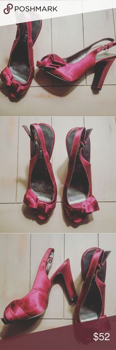 Nine West Heels Absolutely stunning Nine West Heels. | Excellent Condition. | Red (silk like material) Nine West Shoes Heels