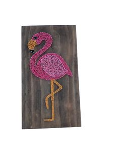 Excited to share the latest addition to my #etsy shop: Pink Flamingo String Art Sign - flamingo sign - beach sign - decorative sign - beach house decor - gift
