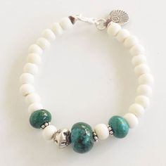 Chrysoprase gemstone & Hill Tribe Silver (97-99% pure silver) $35  $4 post #chrysoprase#bracelet#hilltribesilver#jewelry#jewellery#green#gemstone#bonebead#white#sterling#australianjewellerydesigner by littlebluebirdjewellery