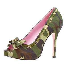 Camouflage and Pink Platform Heels