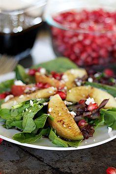 Apple Pomegranate Salad with Honey Balsamic Dressing