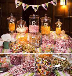 Candy Station at a Wedding Favor - Fall Wedding at Willowdale Estate Photo: Elizabeth Stultz
