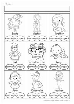 Common and Proper Nouns Clip It! cards and worksheets. What a fun word work center! Get this page FREE when you download the preview.